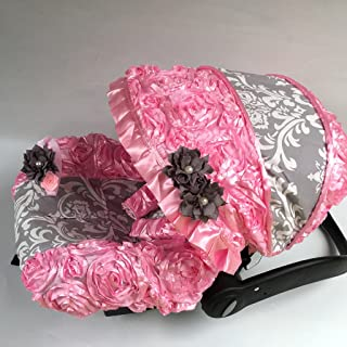 Car Seat Accessories Baby Qualified Infant Car Seat Cover And Hood Cover Pink Green Paisley W/ Pink And White Damask