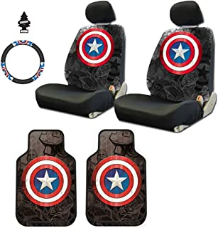 Yupbizauto 8 Pieces Marvel Comic Captain America Car Seat Covers Floor Mats and Steering Wheel Cover Set with Air Freshener