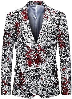 Floral Printed Men's Suits Jackets Slim Fit 2 Buttons Blazer Tuxedo Coat Prom Jacket