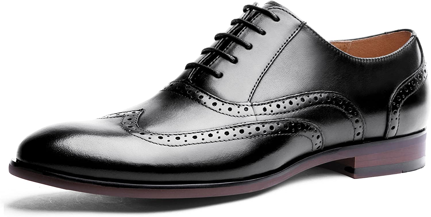 DESAI Mens Brogues Formal shoes Lace up Oxfords in Black Brown