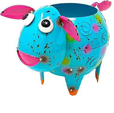 "Mayrich Metal Lamb Sheep Planter Colorful Succulent Flowers Living Fake Artificial Plants Indoor Outdoor Garden Pot Decor 8""x 6"" (Lamb Blue Pink)"