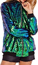 Cresay Women's Sequin Fitted Long Sleeve Zipper Blazer Bomber Jacket