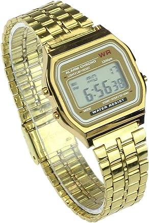 Amazon.com: Vintage Womens Men Stainless Steel Digital Alarm Stopwatch LED Wrist Watch Luxury Bracelet Watch,Gold: Cell Phones & Accessories
