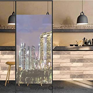 3D Decorative Privacy Window Films,Singapore Cityscape at Night Modern Architecture Urban Life Asian Landmark,No-Glue Self Static Cling Glass Film for Home Bedroom Bathroom Kitchen Office 24x48 Inch
