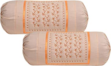 Rj Products Embroidered Cotton Bolsters Cover Maroon - Pack of 2 (Peach)
