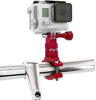 MyGadget Soporte de Cámaras de Acción Bicicleta/Motos - Montaje de Manillar en Aluminio - Rotación 360 Grados para GoPro Hero Xiaomi Garmin Sony - Rojo
