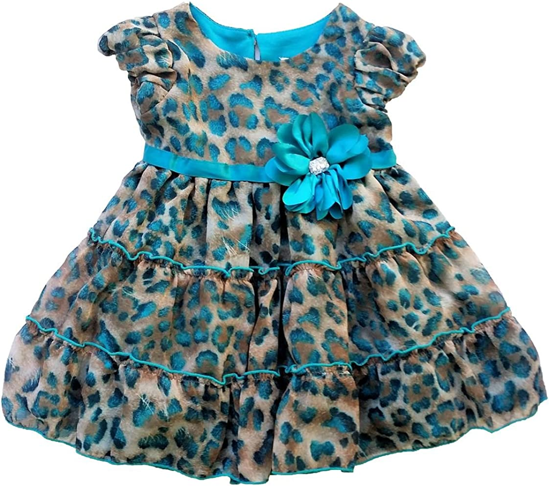 Youngland Toddler/Little Girl's Tiered Ruffle Animal Print Holiday Dress