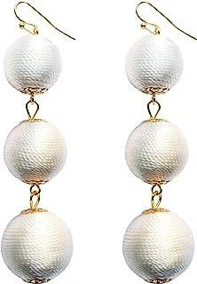 Thread Wrapped Triple Balls Dangle Earrings Lantern Ball Tassel Cute Soriee Drop Earrings for Women Girls
