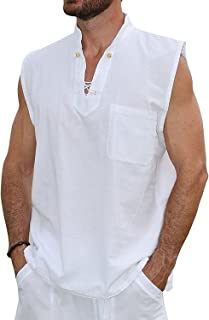 Pure Cotton Men's White Shirt- 100% Cotton Casual Hippie Shirt Short Sleeve Beach Yoga Top