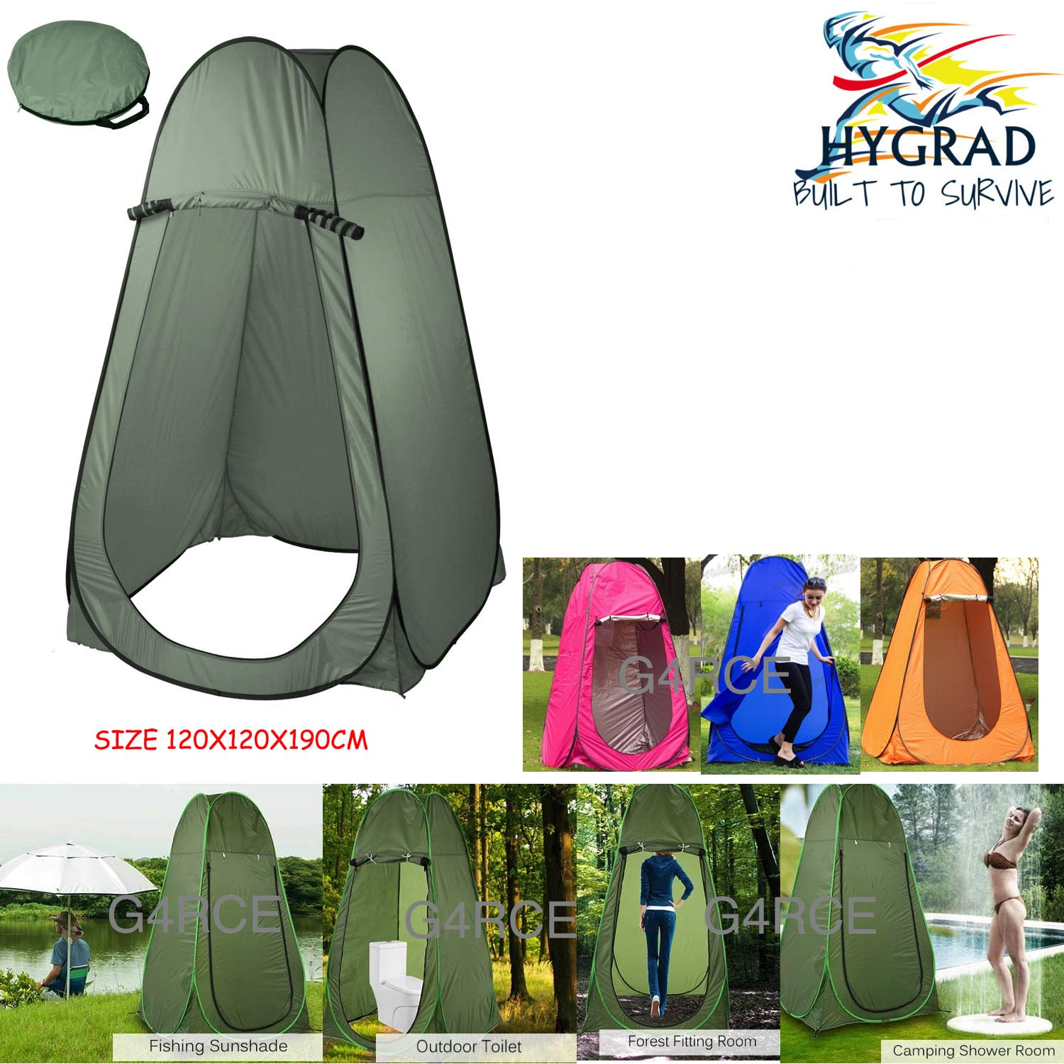 G4RCE® Portable Instant POP Up Tent Camping Toilet Shower