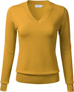 1bf24faa66f FLORIA Women s Soft Basic Thick V-Neck Pullover Long Sleeve Knit Sweater (S-