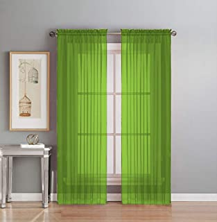 Interior Trends 2 Piece Fully Stitched Sheer Voile Window Panel Curtain Drape Set (84