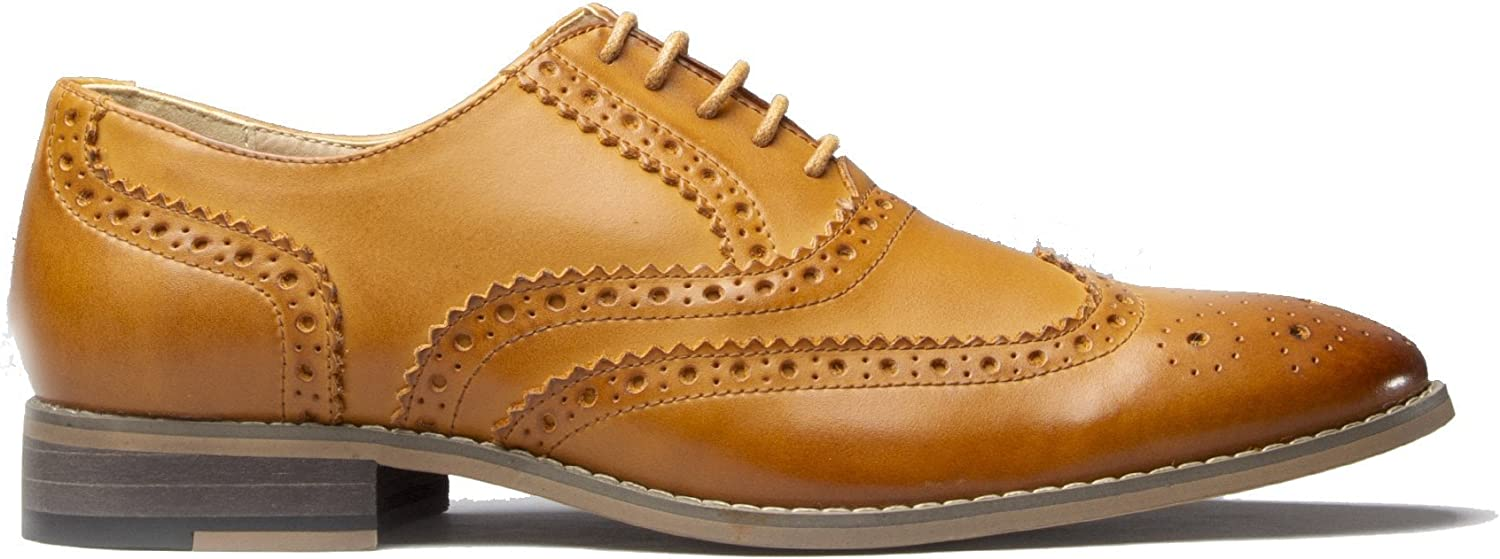 Mister Carlo Monty Mens Leather Brogue Lace Ups Tan