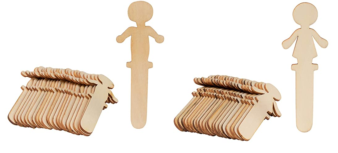 People Craft Sticks - 100-Pack Wooden People Shaped Craft Sticks, 5.8 x 2 x 0.1 Inch Male and Female Wood Craft Sticks People for DIY Arts and Crafts Projects, Crafting Supplies