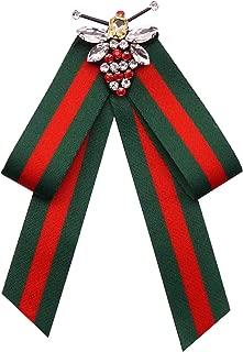 YAZILIND Leopard Print Pre-Tied Ribbon Flannelette Bow Tie Women Alloy Bee Brooch Pin Collar Jewelry