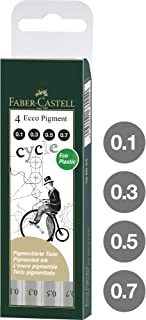 Faber-Castell Ecco Pigment Finepen, Black 4 Pack, (54-166004), Original Version