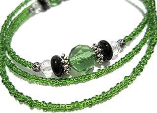 ATLanyards Green Black and Clear Beaded Eyeglass Holder, Eyeglass Chain, Eyeglass Lanyard