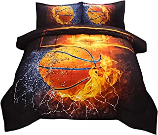 Jqinhome Twin Basketball And Fire Comforter