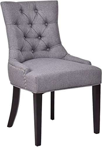 high quality Giantex Fabric Dining discount Chair Button-Tufted Upholestered with Solid Wood discount Legs (Gray) outlet sale