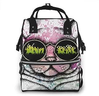 Vintage Diaper Bag Backpack for Women & Men, Waterproof Maternity Nursing Rucksack with Stroller Straps, Cute Cat Animal Kitten Watercolor Dance Sunglasses Computer Backpack