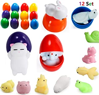 LightAngel 12 Mochi Squishy Toys Filled 12 Surprise Eggs,Jumbo Mochi Bunny Inside,Food Grade Prefilled Surprise Eggs with Mochi Funny Toys,Party Favors,Prize for Box,Soft Stress Relief