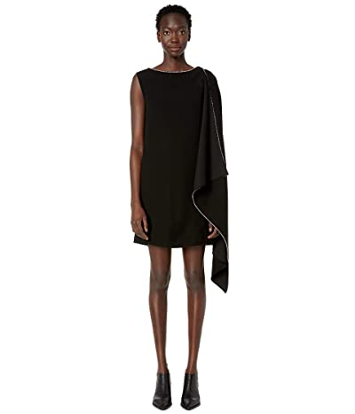 McQ Sleeveless Cascade Dress (Black) Women