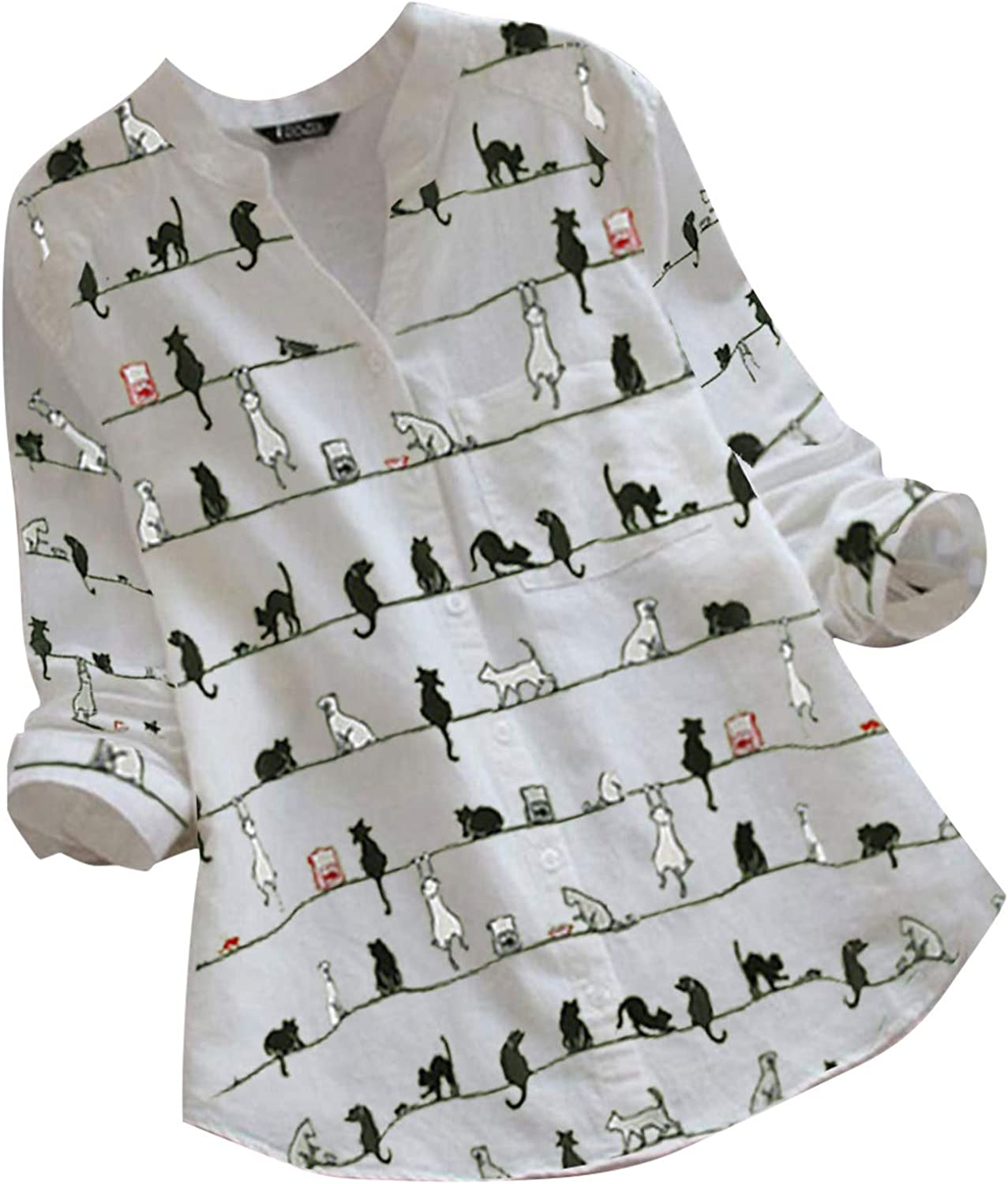 Women's Cute Oversized Shirts Button Down Blouses Fashion Cat Print Long Sleeve Tunic Tops V Neck Loose Comfy Tshirts
