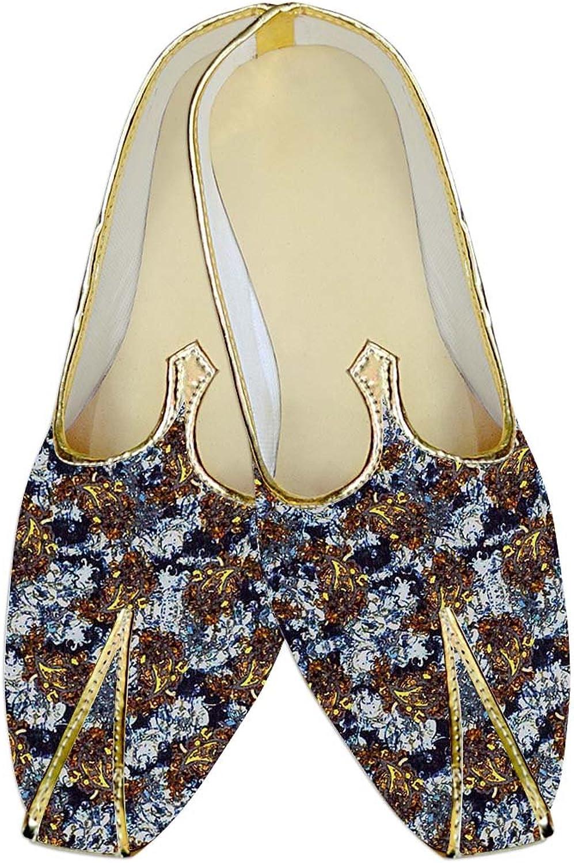 INMONARCH Mens White Wedding shoes Brown Paisley MJ015455
