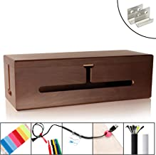 HomeBliss Black Walnut Wood Large Cable Management Box - Stylish Cord Organizer Cable Management Box for Cord Hider and Cord Management - Cable Organizer Box with Protector Cable Sleeve
