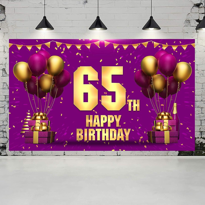 Ushinemi 65th Cheap bargain Birthday Banner Sales for sale Happy 65 Backdrop De