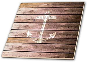 3dRose ct_120205_4 White Anchor Stamp on Wood Texture Graphic Print Not Actually Wooden Brown Grunge Nautical Theme Ceramic Tile, 12-Inch