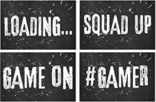 Video Game Posters, Set of 4, 11x17 Inches, Gaming Artwork, Gamer Wall Art, Boys Room Kids Print Sayings