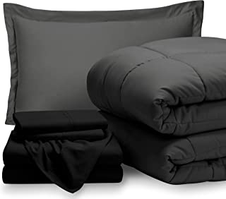 Bare Home Bed-in-A-Bag 5 Piece Comforter & Sheet Set - Twin Extra Long - Goose Down Alternative - Ultra-Soft 1800 Premium - Hypoallergenic - Breathable Bedding Set (Twin XL, Grey/Black)
