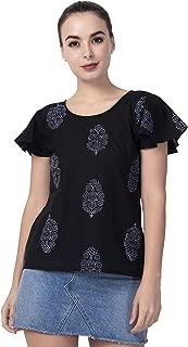 Attire Fashions Womens Cotton Half Sleeve Block Print Top/Handloom Tops/Girls Tops Black