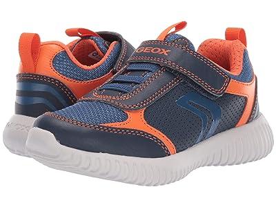 Geox Kids Jr Waviness 12 (Little Kid) (Navy/Orange) Boys Shoes