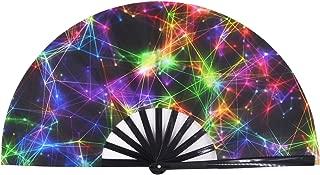 Amajiji Large Galaxy Folding Fan, Chinease/Japanese Folding Nylon-Cloth Hand Fan, Hand Folding Fans for Women/Men, Hand Fan Festival Gift Fan Craft Fan Folding Fan Dance Fan (AM1)