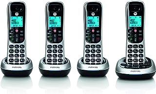 motorola CD4014 DECT 6.0 Teléfono inalámbrico con contestador automático y Bloque de Llamadas, Plata/Negro, 4 teléfonos