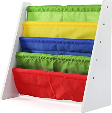 Humble Crew Kids Book Rack Storage Bookshelf, White (Summit Collection), White/Primary