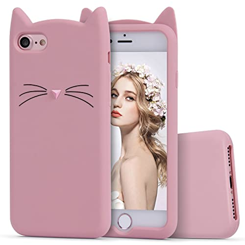 iPhone 8 Case, iPhone 7 Silicone Case, Imikoko Slim-Fit Anti-Scratch Shock Proof Soft Silicone Case With Cute Cat Pattern for iPhone 7/ iPhone 8 (4.7 inch) (Rose Gold)