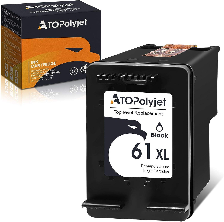 ATOPolyjet Remanufactured Ink Cartridge Replacement for HP 61 XL 61XL Black 1-Pack Fit Envy 4500 5530 4502 4501 OfficeJet 4630 4635 2620 DeskJet 2540 3050 2050 1000 1010 1510 3510 1512 2542 Printer
