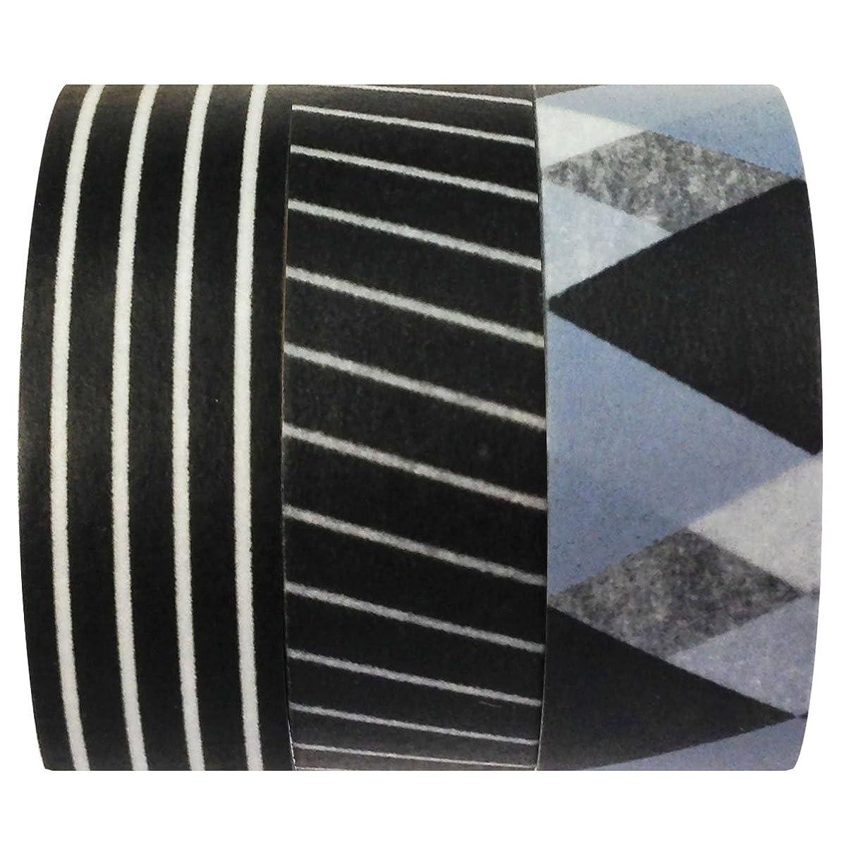 Wrapables Japanese Washi Masking Tape, 10m by 15mm, Tuxedo, Set of 3