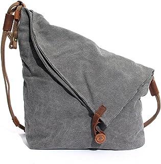 Panzexin Damentasche Canvas Damen Umhängetasche Schultertasche Messenger Tasche Handtasche Grau