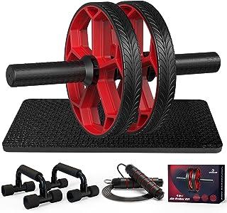 Ab Workout Equipment - Ab Roller Wheel & Push Up Bars & Jump Rope & Knee Mat, Exercise Roller Kit for Core Strength Traini...