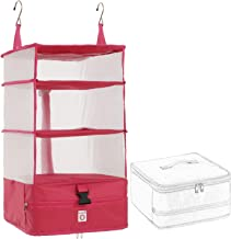 Poemay Hanging Travel Packing Cube Organizer - Large Portable Luggage System (Rose)