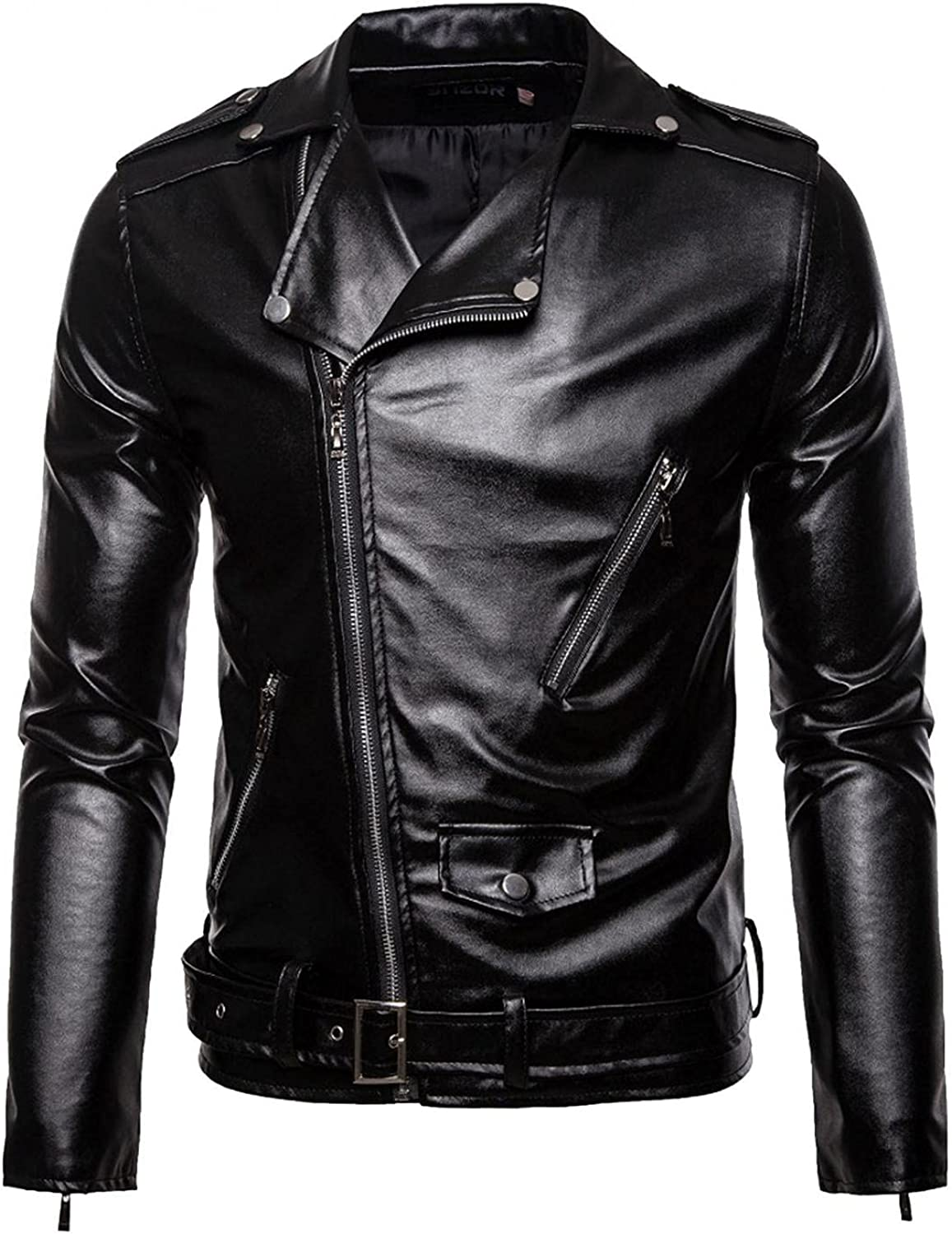 LEIYAN Mens Leather Jackets Casual Winter Long Sleeve Lapel Zip Up Bodybuilding Fitness Motorcycle Jackets