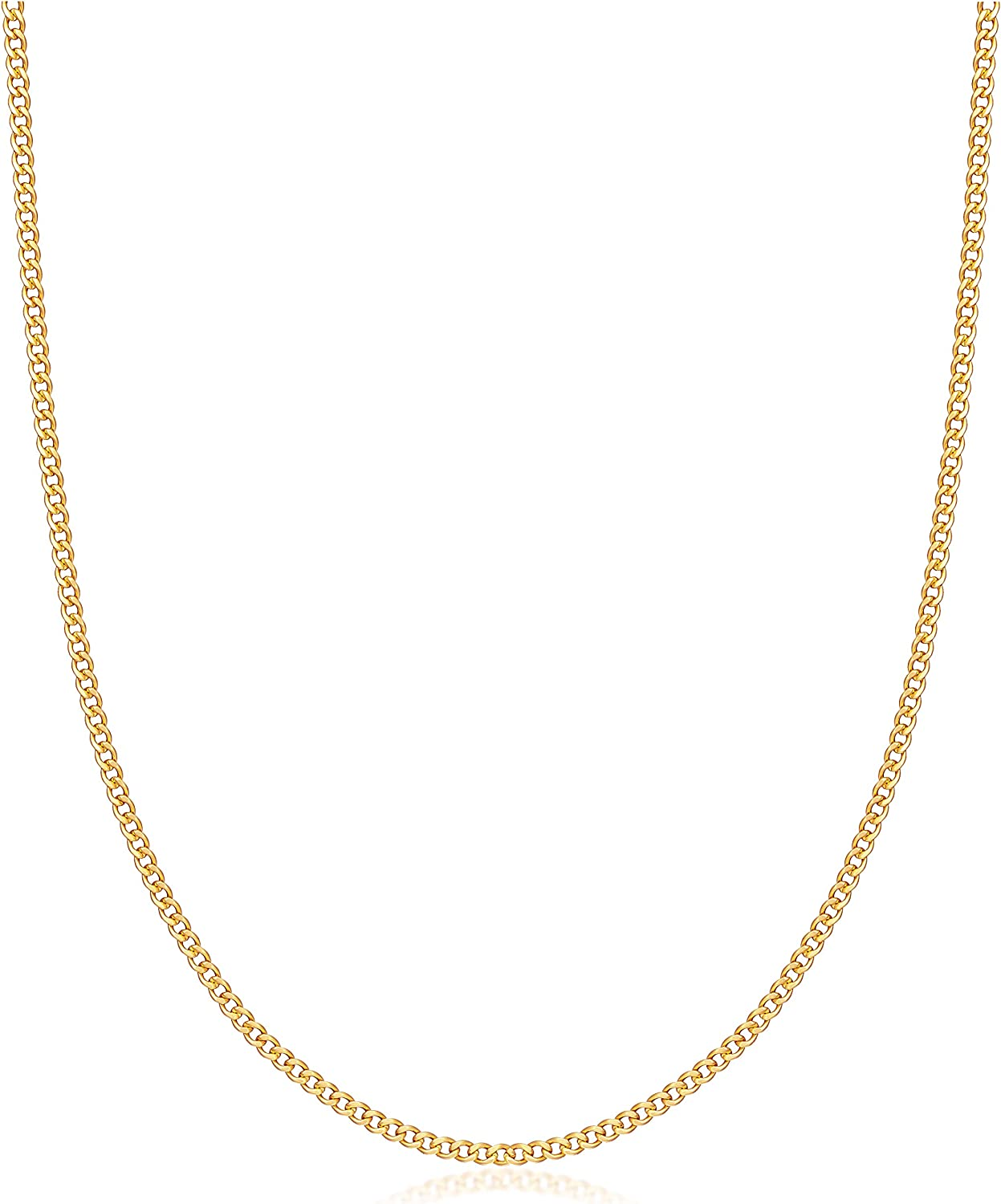 Womens Gold Chain Necklace | Barzel 18K Gold Plated Curb / Cuban Link Gold Chain Necklace 2MM, 3MM, 4MM, 5MM For Women or Men - Made In Brazil