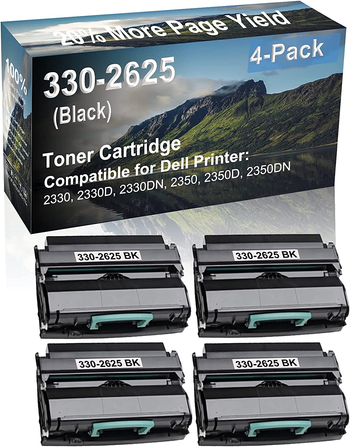 4-Pack Compatible High Yield 2350D, 2350DN Laser Printer Toner Cartridge Replacement for Dell 330-2625 Printer Cartridge (Black)