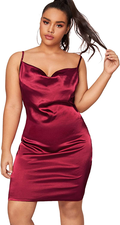 Romwe Women's Plus Size Sexy Satin Spaghetti Strap Cowl Neck Solid Party Cami Mini Dress