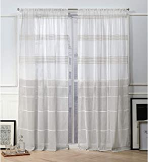 Nicole Miller Wexford Sheer Rod Pocket Top Curtain Panel, Linen, 54x96, 2 Piece