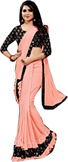 Lycra Frill & Velvet Sequin Border Blouse fancy Indian Woman girls Stylish Festival Saree Sari 6802